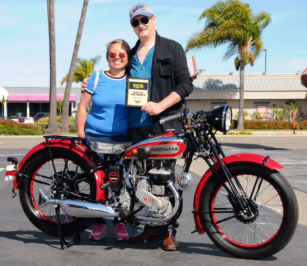 Eugene & Mary Garcia and their 1936 Husqvarna 40SV