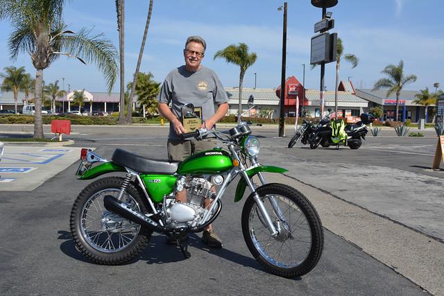 Doug Rickertsen of Huntington Beach with his 1971 Honda SL125