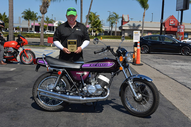 Don Reynolds of West Covina with his 1975 Kawasaki H2 750