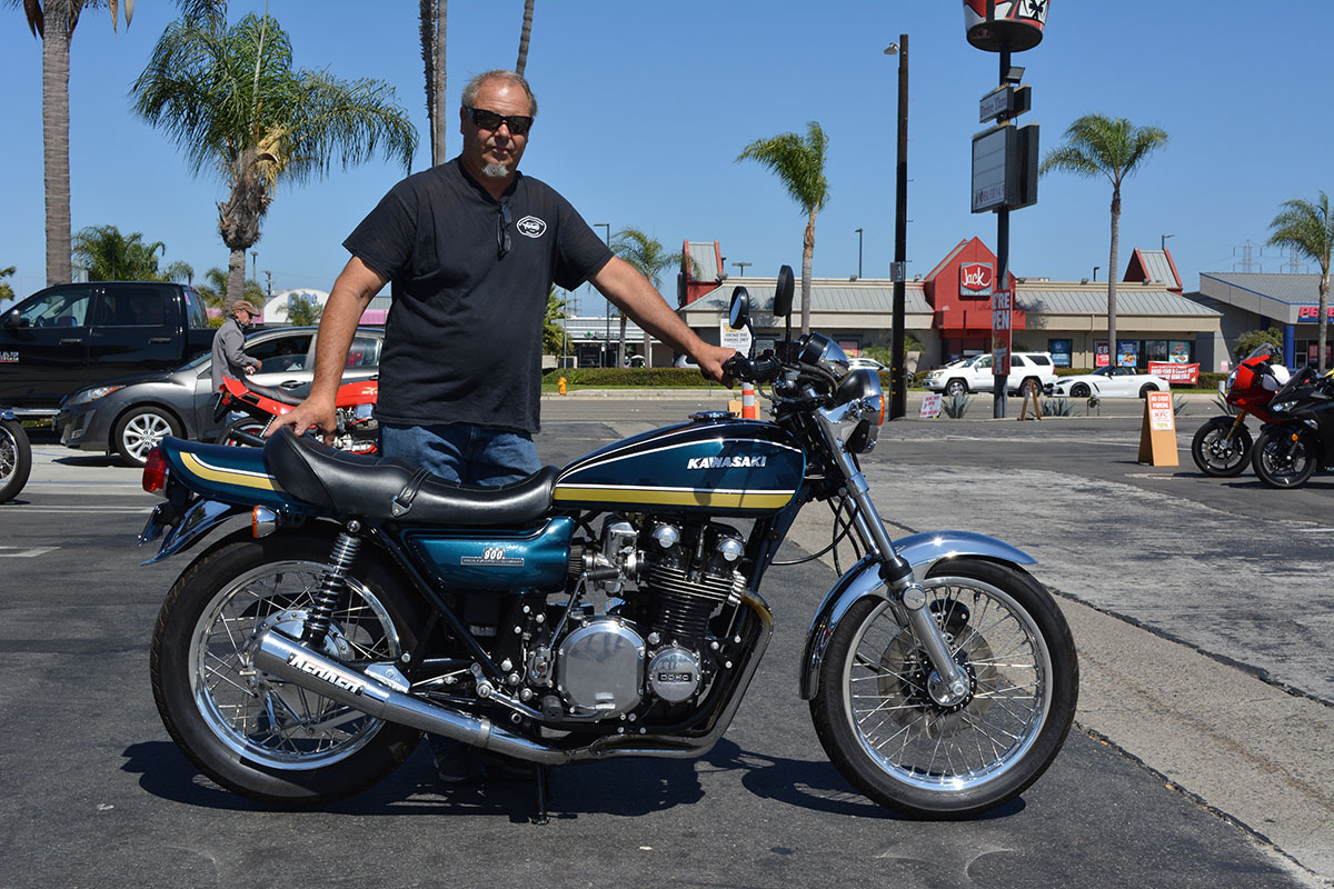 Jeff Agalsoff of Costa Mesa with his 1975 Kawasaki Z900