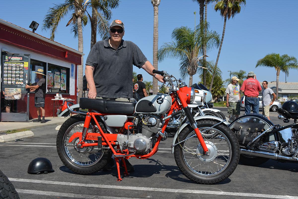 Dave Zamiska of Huntington Beach with Steve Woods 1963 Honda CL72