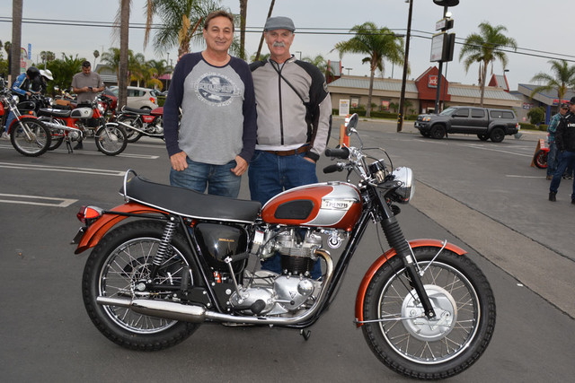 John Calicchio and Brian Tinkler with a 1969 Triumph Bonneville