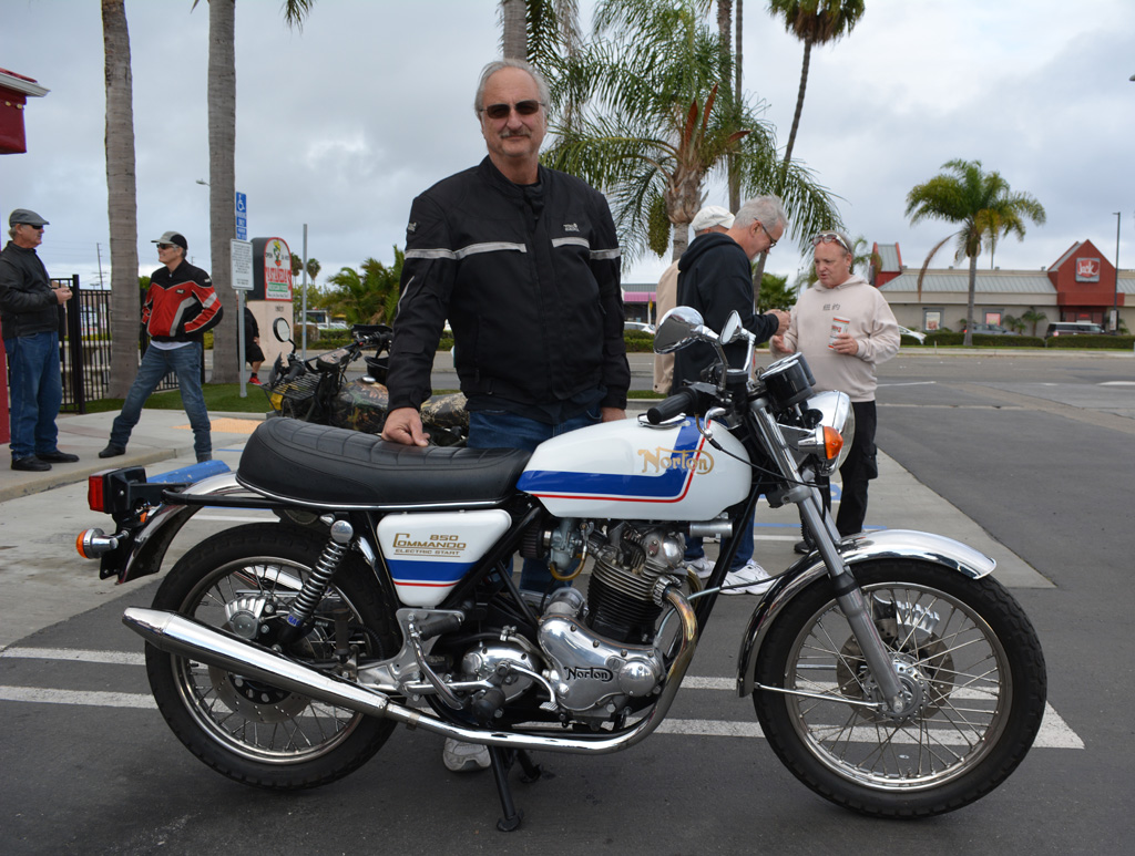 Jeff McCoy of Huntington Beach with his 1975 Norton Commando 850 Mark III