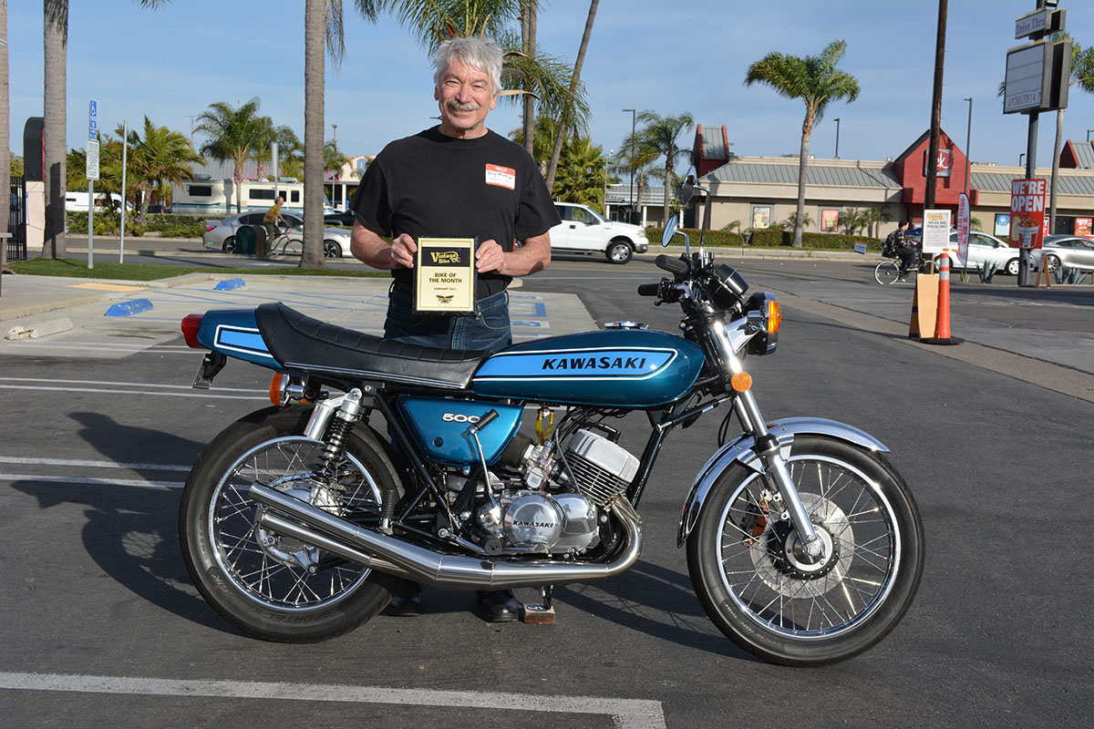 Steve Zahner of Yorba Linda with his 1975 Kawasaki H1 500