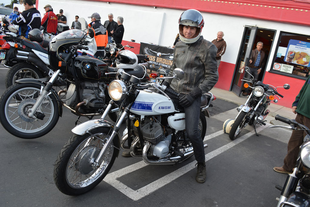 Larry French with his 1969 Kawasaki H1 500 Mach III