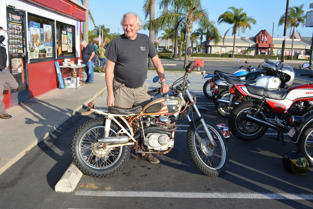Dan Wensloff and his 1964 Triumph Cub with a 1971 Honda SL175 engine
