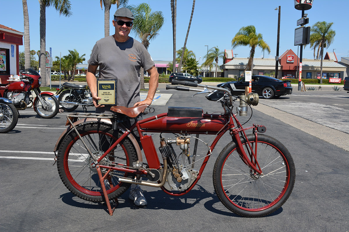 Todd Cameron of Monrovia with his 1909 Indian Single