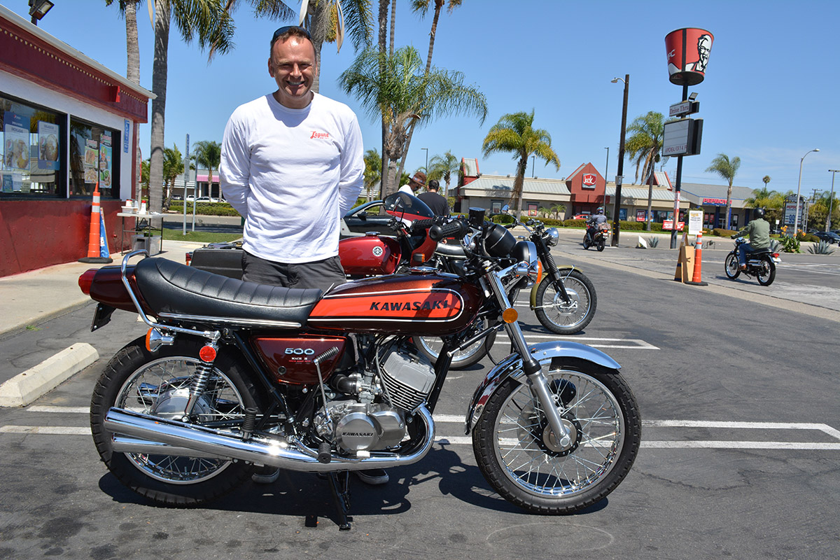 Owen Bishop of Laguna Beach with his 1974 Kawasaki H1 500