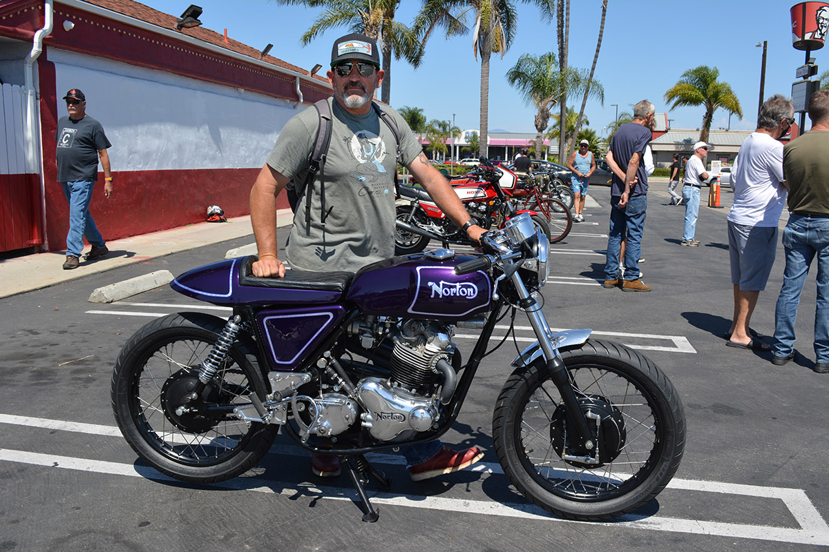 Vince Driscol of Long Beach with his 1970 Norton Commando 750 Custom