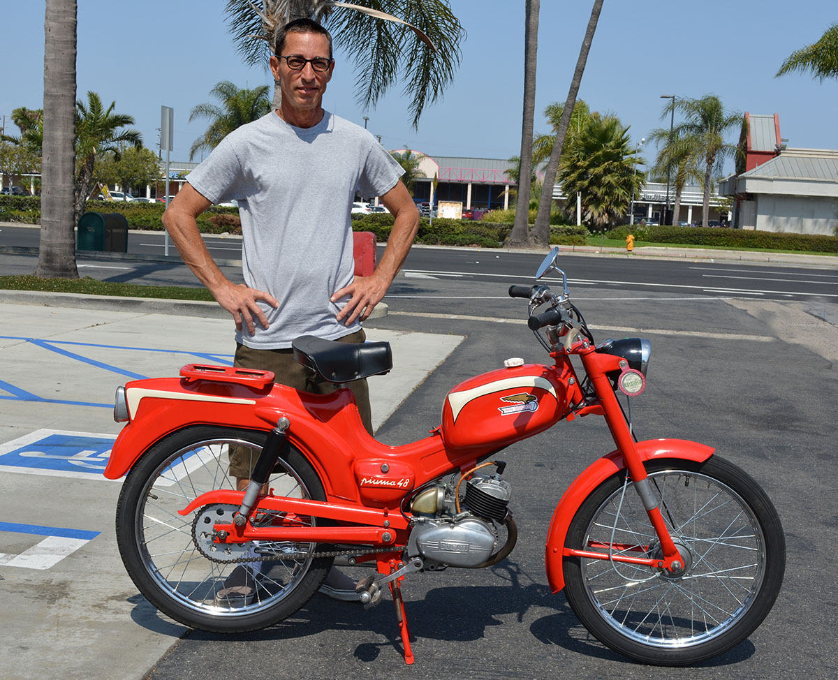 Baird Bergenthal of Midway City with his 1962 Ducati Piuma 48