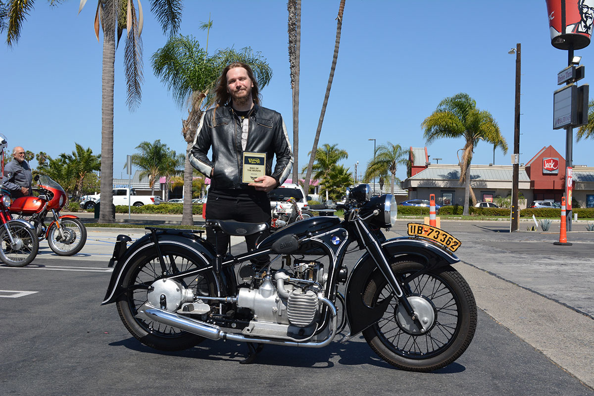 Shawn Boeker of Garden Grove with his 1937 BMW R-12