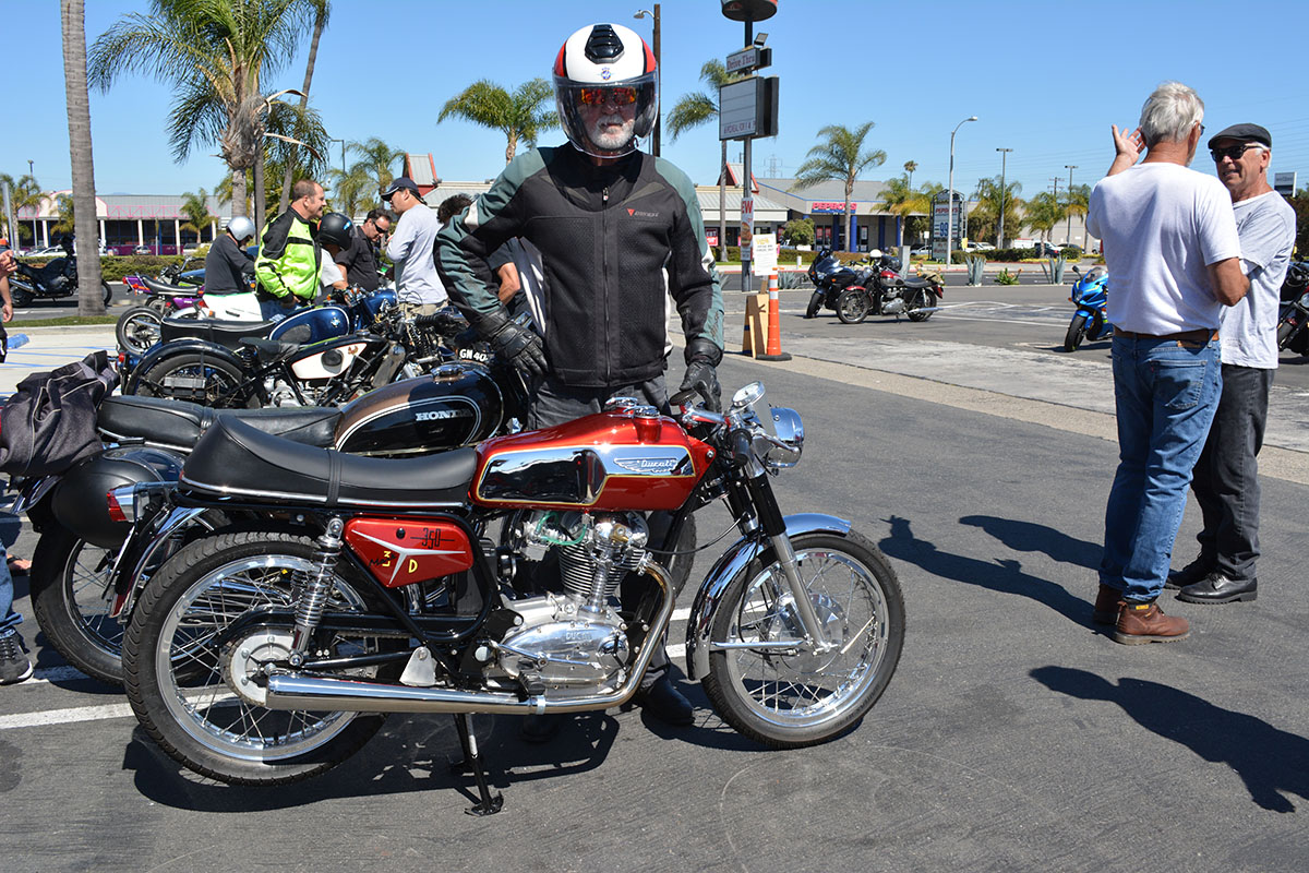 Ernesto Quiroga of Long Beach with his 1968 Ducati 350D