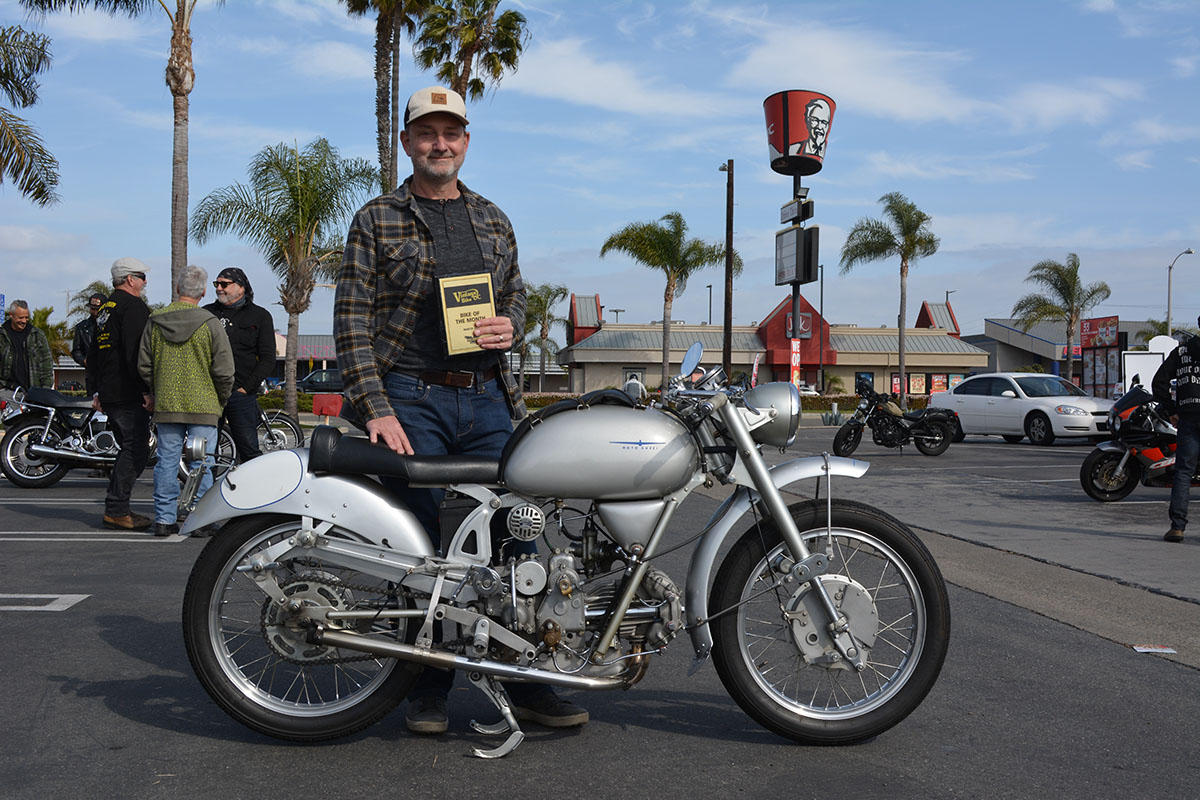 Allan Scott of Irvine with his 1950 Moto Guzzi 250 Airone