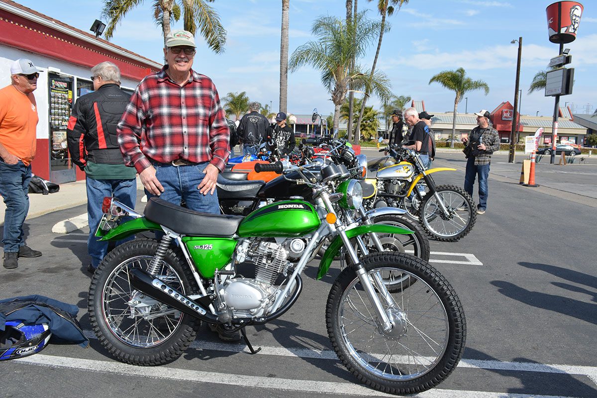 Doug Rickertsen of Huntington Beach with his 1971 Honda SL125