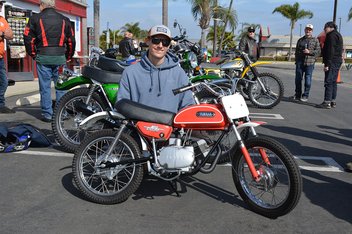 Andrew Skowron of Huntington Beach with his 1971 Yamaha Mini Enduro