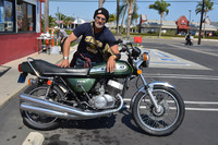 Jinx Verona with his 1975 Kawasaki 750 H2