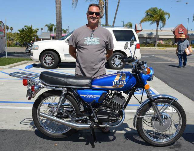 Bill Brewer with his 1975 Yamaha RD200