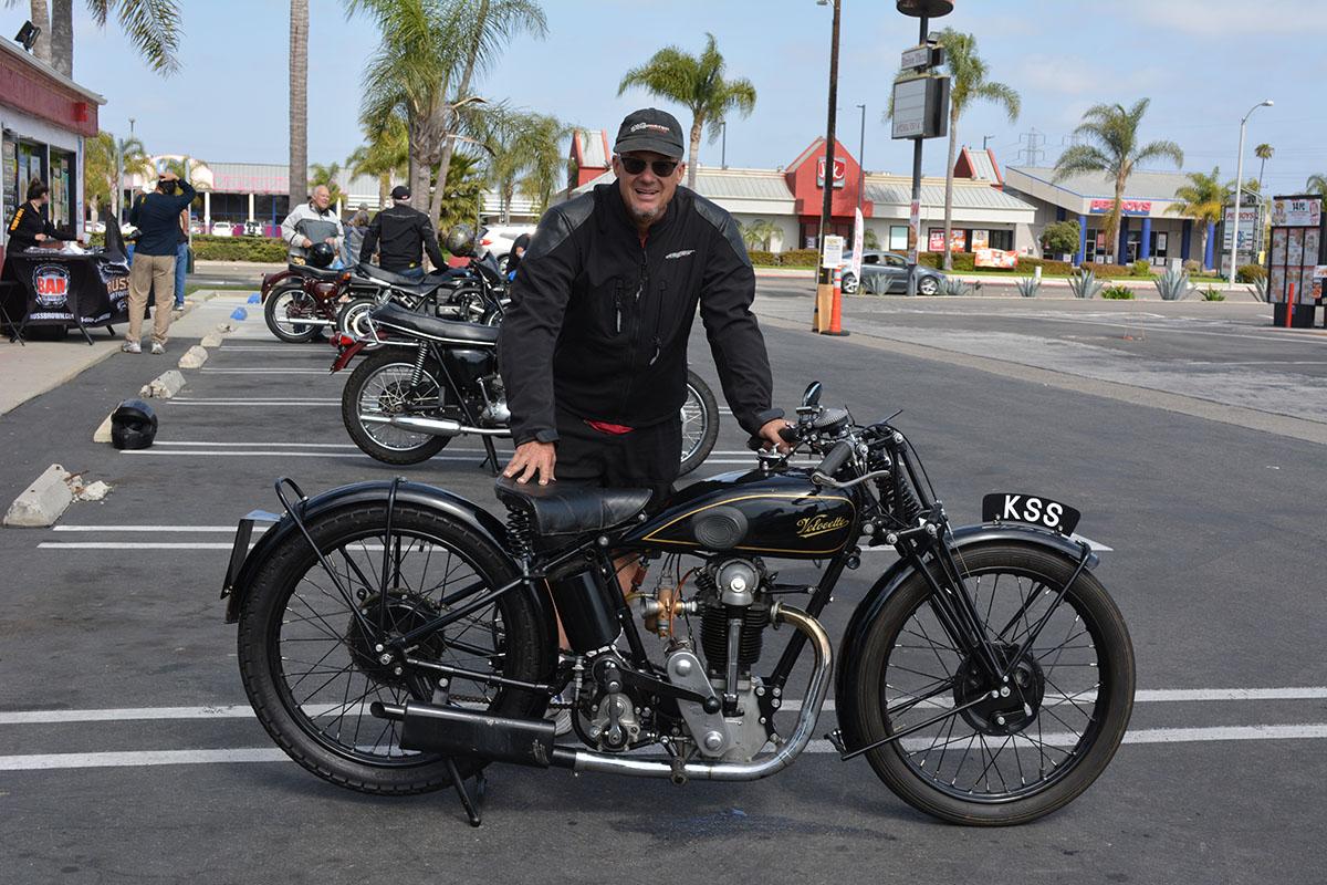 Todd Cameron of Pasadena with his 1930 Velocette KSS
