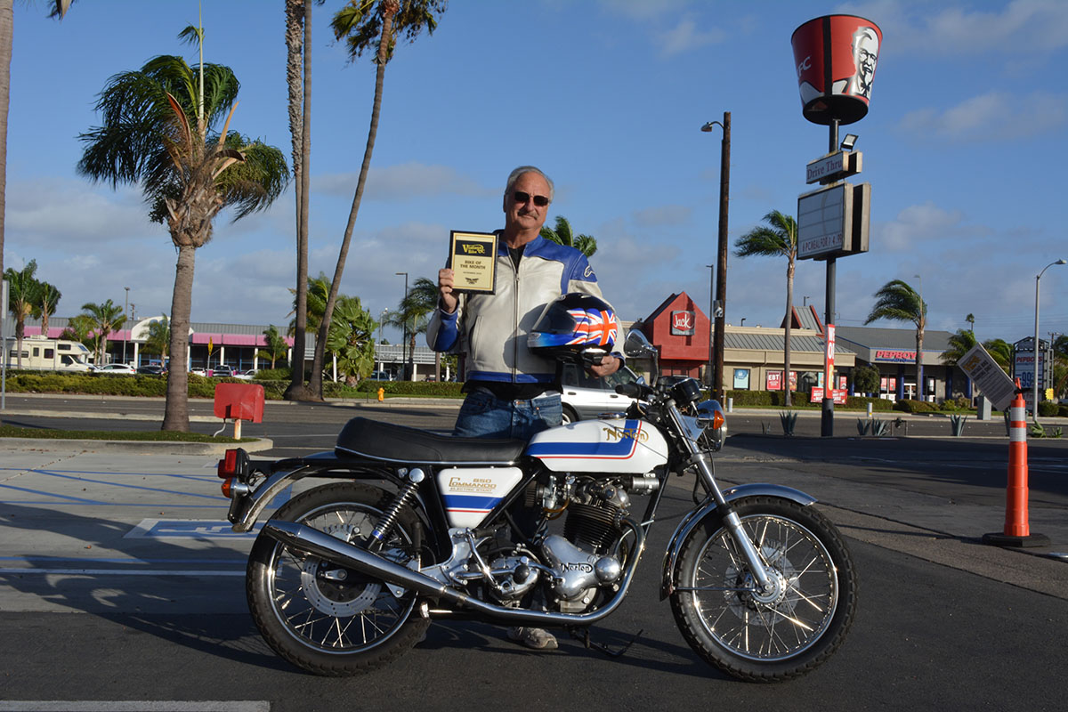 Jeff McCoy of Huntington Beach with his 1975 Norton Commando 850