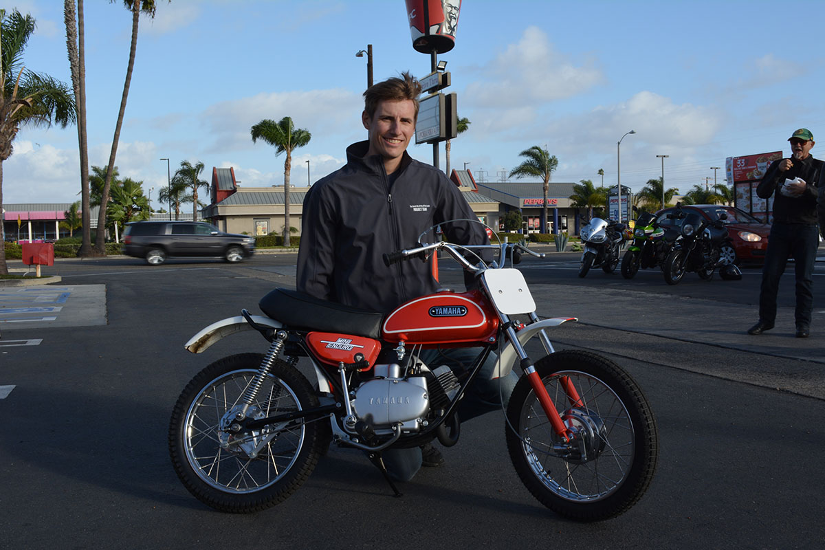Andrew Skowron of Huntington Beach with his 1971 Yamaha JT1 Mini Enduro