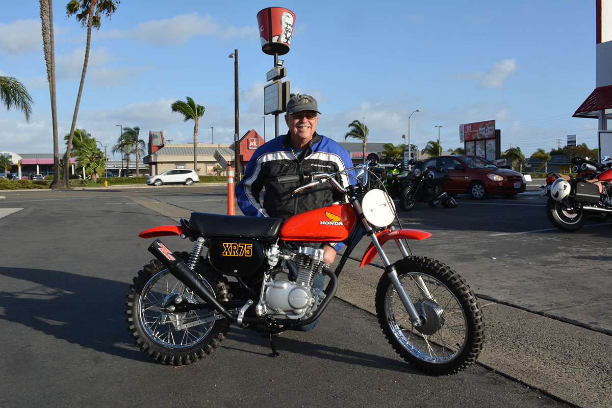 Doug Rickertsen of Huntington Beach with his 1976 Honda XR75