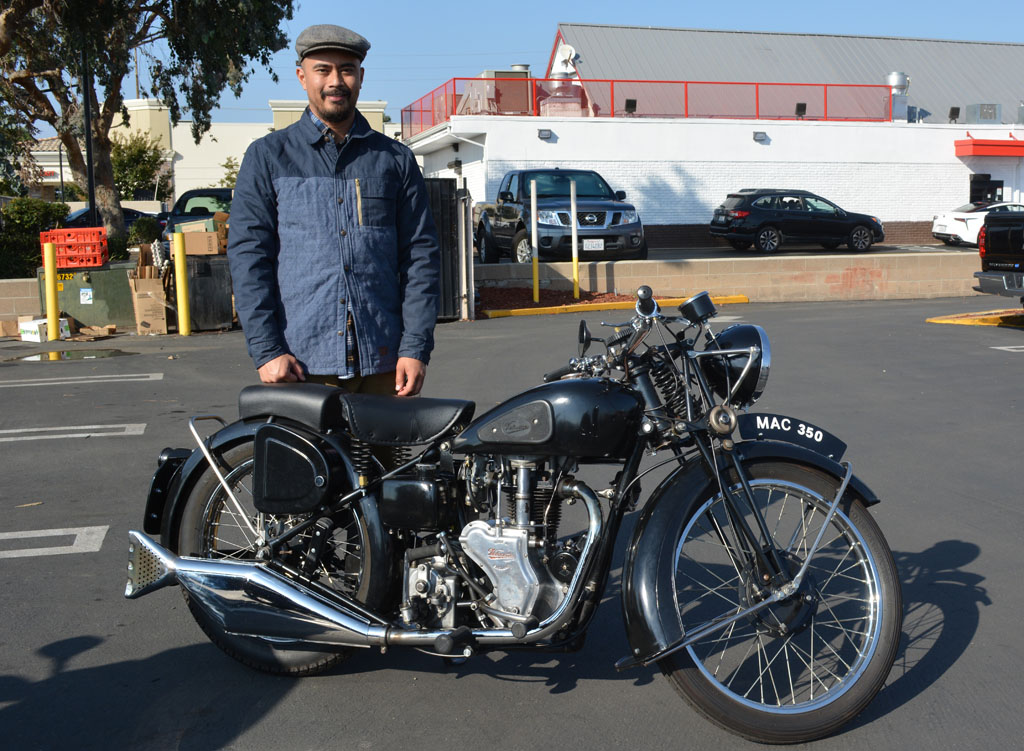 Biley with his 1950 Velocette 350 Mac