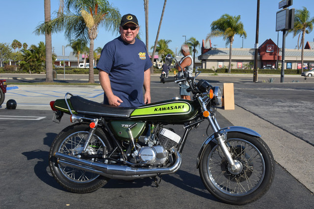 Don Reynolds of West Covina with his 1973 Kawasaki H2 Mach IV