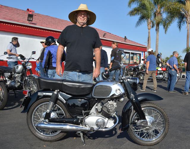 Larry Thomas of Laguna Naguel with his 1965 Honda 150 Dream