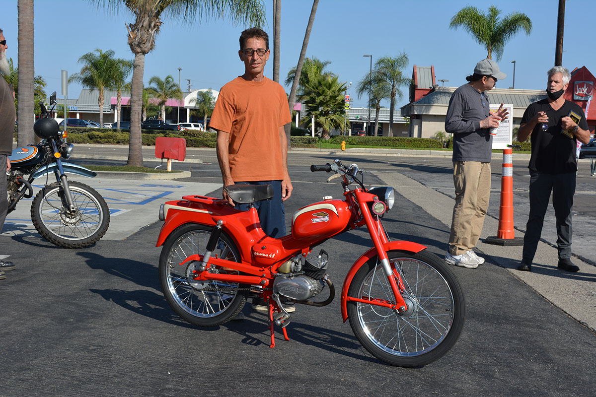 Baird Bergenthal of Midway City with his 1962 Ducati Piuma