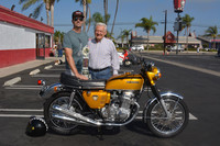 Mike Guterrez and Tony Palumbo with their 1969 Honda CB750 Sandcast