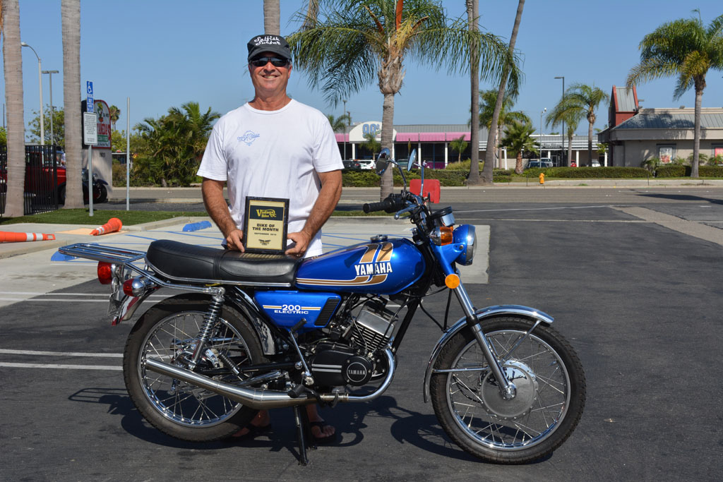 Bill Brewer of Huntington Beach with his 1975 Yamaha RD200