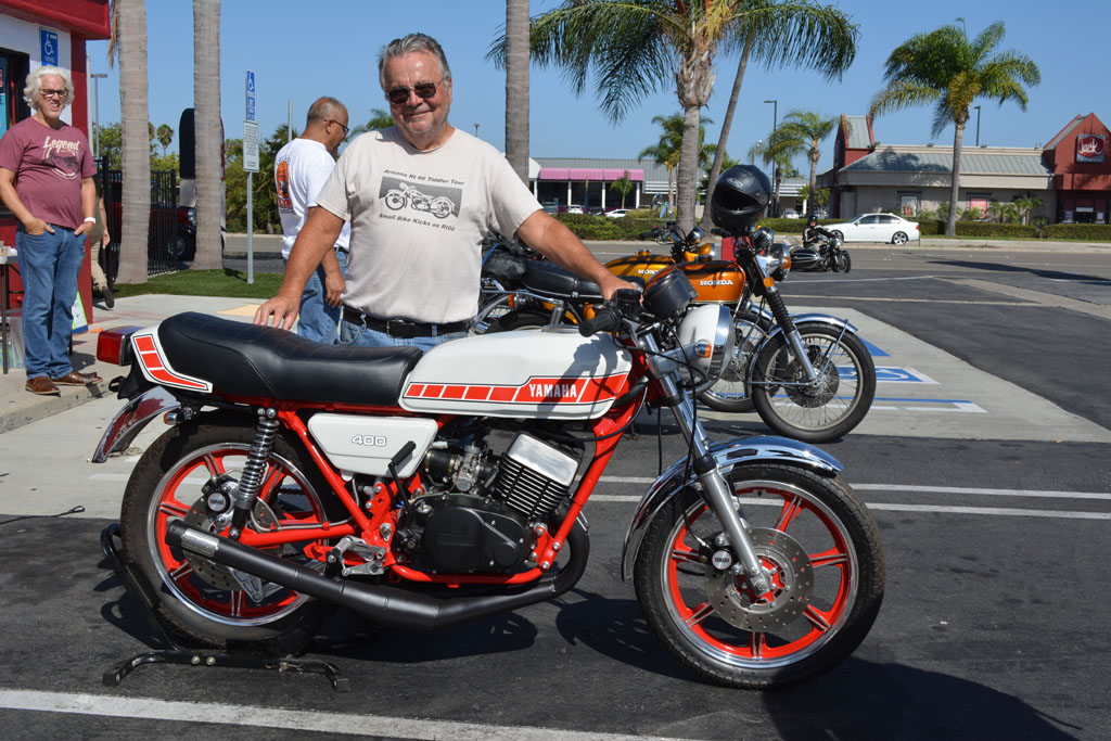 Ron Callaway of Yorba Linda with his 1978 Yamaha RD400