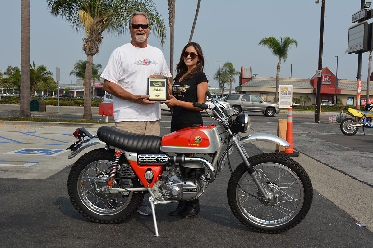 Kenny Easton of Fullerton with his 1971 Bultaco Matadore MK4 with Vanessa of Russ Brown Motorcycle Attorneys