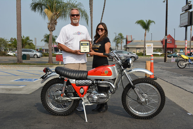 Kenny Easton of Fullerton with his 1971 Bultaco Matador MK4 with Vanessa of Russ Brown Motorcycle Attorneys
