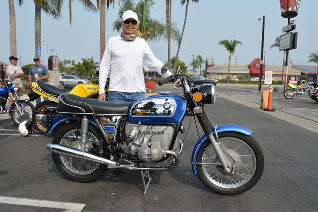 Norm Michaud of Huntington Beach with his 1973 BMW R75/5