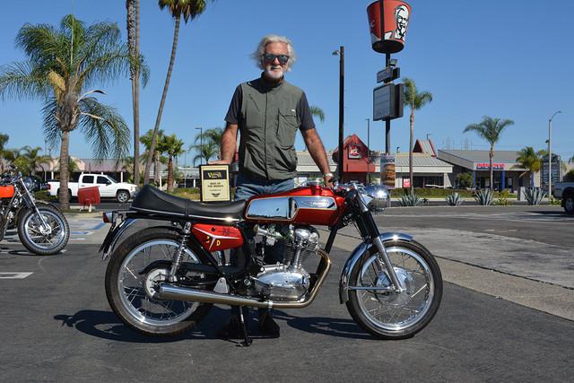 Ernesto Quiroga of Long Beach with his 1968 Ducati 350 Desmo Mark 3