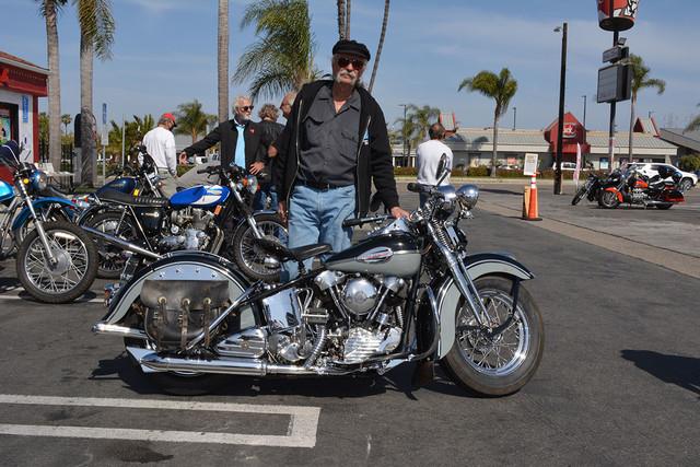 Steve Cook of Bellflower with his 1941 Harley Davidson EL