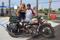 Kitty Brooks with Oran Bloodsworth and his 1944 Indian Chief