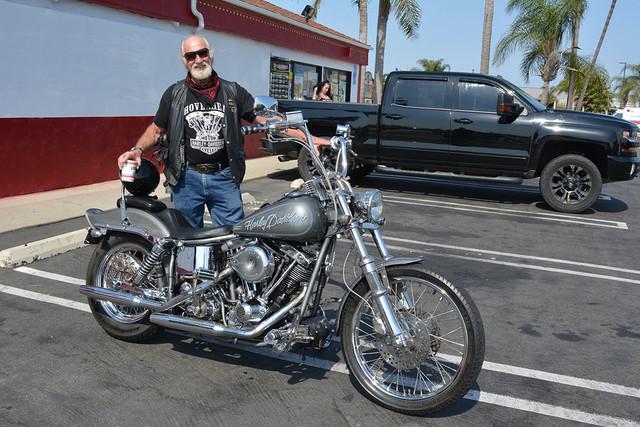 Armand Maisterra of Seal Beach with his 1972 Harley Davidson
