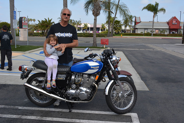 Jeff McCoy of Huntington Beach with his 1975 Triumph Trident 750
